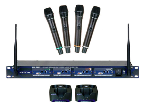 vocopro uhf 5805 900mhz 4 channel rechargeable wireless microphone set 9 or 10 ebay. Black Bedroom Furniture Sets. Home Design Ideas